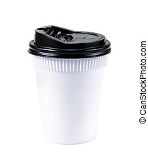 Take-out coffee in thermo cup. Isolated on a white. White cup of coffee close-up isolated
