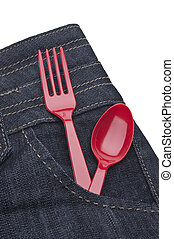 Take Out Food Concept with Denim Jeans with a Red Fork and ...