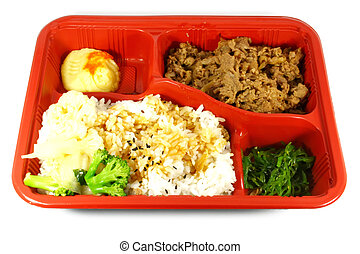 Take Out Food Japanese Dish consisting of beef, vegetable ...