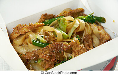 take-out food -Noodles with pork and vegetables in take-out ...