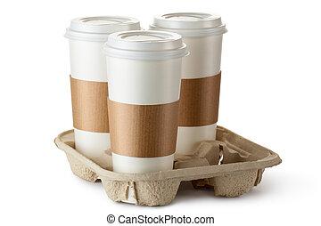 take-out, halter, bohnenkaffee, drei