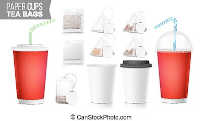Take-out Ocher Paper Cups, Tea Bags Mock Up Vector. Big...