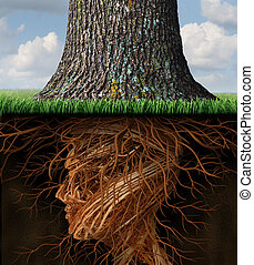 Take root and taking roots business and health care concept with underground tree roots in the shape of a human head as a tall tree grows above as an icon of growth and success in health care and wealth.
