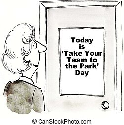 Take Team to Park - Cartoon of businesswoman looking at sign...