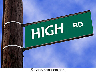 take the high road sign concept