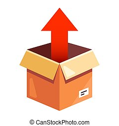 take the parcel up from the cardboard box. flat vector ...