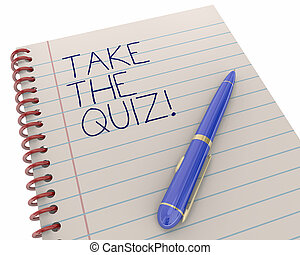Take the Quiz Test Exam Trivia Fun Game Pen Writing Words 3d Illustration