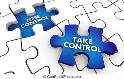 Take Vs Lose Control Puzzle Pieces 3d Illustration