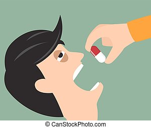 Take your medicine concept. Person puts tablet in mouth. vector illustration.