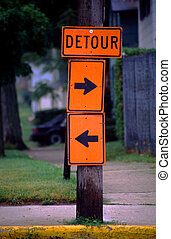 Take Your Pick Detour Sign - Ambivalent detour sign lets the...