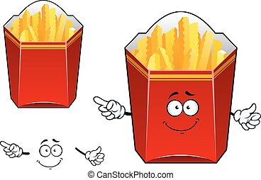 Takeaway cardboard cartons of French fries