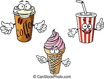 Takeaway cartoon coffee, soda, ice cream