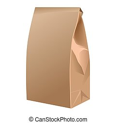 Takeaway closed paper bag isolated on white. Vector poster