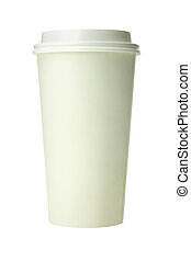 Takeaway Disposable Paper Cup on White Background