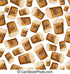 Takeaway coffee cups seamless pattern background