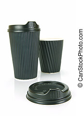 Takeaway Coffee Cups - Takeaway coffee cups isolated against...
