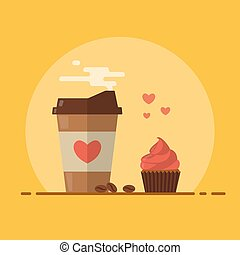 Takeaway coffee with cupcake and a pinch of love