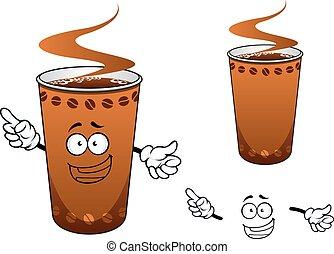 Takeaway cup of coffee cartoon character