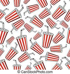 Takeaway cups of sweet soda seamless pattern