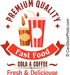 Takeaway fast food coffee and soda drinks icon