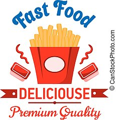 Takeaway fast food french fries with ketchup badge