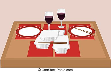 table set with takeaway boxes, plates, chopsticks and wine eps 10