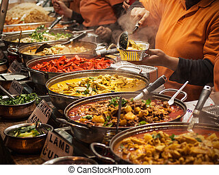 Takeaway Indian food at London market