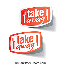 Takeaway labels - Vector illustration of takeaway labels