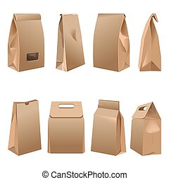 Takeaway paper bags set on white illustration