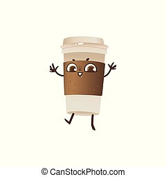 Takeaway plastic cup of coffee cartoon character dancing and smiling isolated on white background.