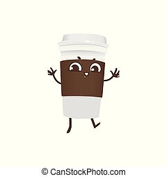 Takeaway plastic cup of coffee cartoon character dancing and smiling.