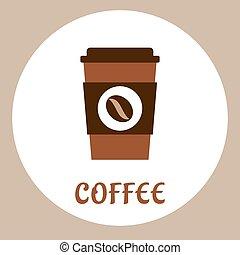 takeaway, plat, koffie, pictogram, kop
