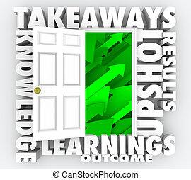 takeaways, deur open, nieuw, informatie, kennis, 3d, illustratie