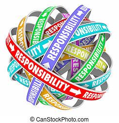 taken, afvaardigen, voorbijgaand, banen, plichten, verantwoordelijkheidsgevoel, van, woord
