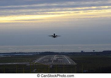 takeoff aircraft at the airport