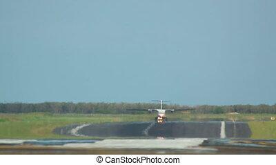 Takeoff - ATR-42 Turboprop airplane takeoff, International...