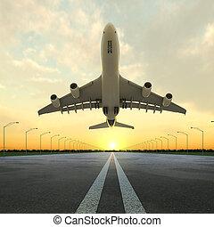 takeoff, flyvemaskine, ind, lufthavn, hos, solnedgang