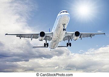 takeoff, flyvemaskine, ind, lufthavn