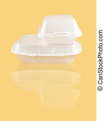 two different sized takeout styrofoam food containers