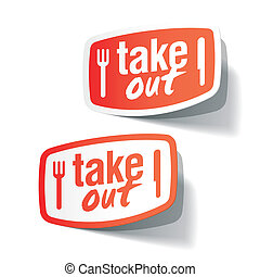 Takeout labels - Vector illustration of takeout labels