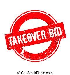 Takeover Bid rubber stamp. Grunge design with dust...