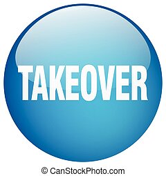 takeover blue round gel isolated push button