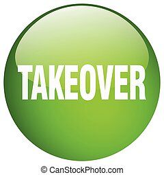 takeover green round gel isolated push button