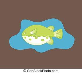 takifugu, vecteur, fish, illustration