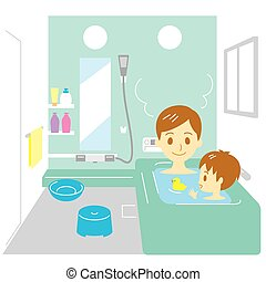Taking a bath, father and son, vector file