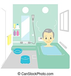 Taking a bath, old man, vector file