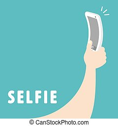 Selfie - Taking a self portrait with smart phone. Cartoon...