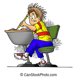 Taking a Test - Cartoon image of a boy in school taking a...