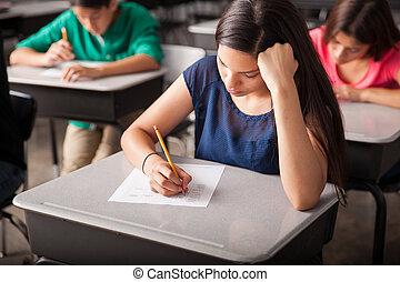 Taking a test in high school