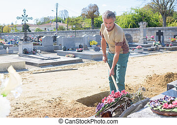 taking care of a cemetary